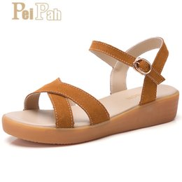 $enCountryForm.capitalKeyWord Australia - PEIPAH 2019 Summer Fashion New Women's Sandals Casual Solid Wedge Cross Belt Student Sandals Thick-soled Leather Women's Shoes