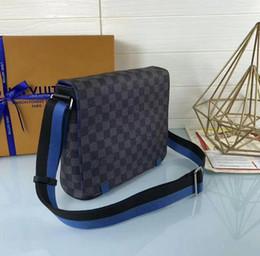 Stripe Fabric Dress Australia - N42405 Two-tone fabric shoulder strap messenger bag MEN HANDBAGS ICONIC BAGS TOP HANDLES SHOULDER BAGS TOTES CROSS BODY BAG CLUTCHES EVENING