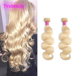 Wholesale set wave for sale – plus size Indian Virgin Hair Bundles Body Wave Blonde Human Hair Extensions Wefts Two Pieces One Set Double Wefts Natural Color