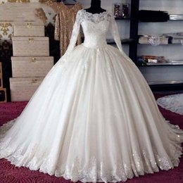 Bridal wedding dress muslim araB online shopping - Arab Wedding Gowns Ball Gown Long Sleeves Muslim Wedding Dress Real Pictures Lace Appliques Long Islamic Bridal Dresses