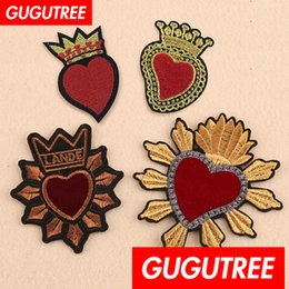 Love patches online shopping - GUGUTREE embroidery big patches love heart patches badges applique patches for clothing SP