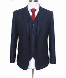 Custom Tweed Suit Australia - WL Custom Made Retro melange color spot copper navy woolen tweed suit British style Mens suit slim fit Blazer wedding suit