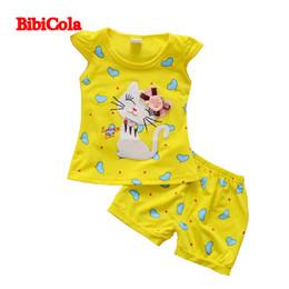 $enCountryForm.capitalKeyWord Australia - good quality Baby Girls Cute Love Cat Print Clothing Sets Children Summer Cartoon Top T-shirt+Rompers 2pcs Children Summer Outfits