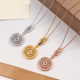 Silver Pendant Costume Australia - Three Circle Pendant with full CZ diamond Rose Gold Silver Color Necklace for Women Vintage Collar Costume Jewelry with original box se