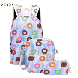 $enCountryForm.capitalKeyWord NZ - 3pcs set Cute Women Food Printed Canvas Backpack Casual Shoulder Schoolbag For Teenagers Girls Travel Rucksack