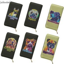 $enCountryForm.capitalKeyWord Australia - Jackherelook Women Leather Purse Pug French Bulldog Boxer Dog Design Long Wallet Ladies Coin Money Clutch Bag Phone Card Holders