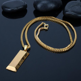 friendship plates Australia - Trendy Gold Plating Gold Brick Necklace Hip Hop Punk Rock Pendant Necklaces For Men Women Friendship Collar Luxurious Rich Statement Jewelry