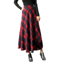 30d07bfc0 Sleeper #401 2018 NEW FASHION Womens High Elastic Waist Maxi A-line Plaid  Winter Warm Flare Long Ankle Skirt hot Free Shipping
