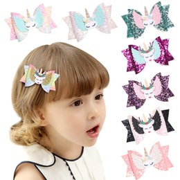 Glitter for kids online shopping - Hair Accessories Hair Bows for Girls Shiny Glitter Clips Cute Elk Unicorn Hairpins Kids Princess Accessories WD951020