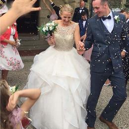 $enCountryForm.capitalKeyWord Australia - 2019 New Gorgeous Ball Gown Wedding Dresses Crystal Beading Illusion Bodice Wedding Gowns White Ivory Backless Ruffle Skirt Bridal Gowns