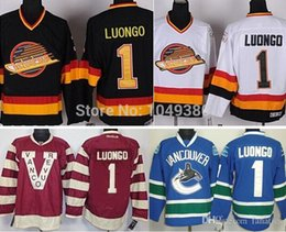 ac8124d4b Cheap Vancouver Canucks Hockey Jerseys  1 Roberto Luongo Jersey Claret Red  100th Anniversary Black White Blue Stitched Jerseys