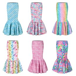 Wholesale mermaid costume girl for sale – halloween Baby Mermaid Princess Skirts Waist Band Tight Fishtail Trumpet Skirt Fish Scale Printed Sundress Cosplay Costumes Kids Clothing M1186