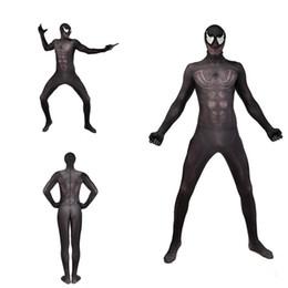 $enCountryForm.capitalKeyWord NZ - New 3D Black Venom Spider Stretch Cosplay Costume Superhero Lycar Spandex High Quality Zentai Bodysuit Skin Catsuit Jumpsuit