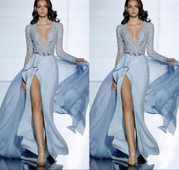 $enCountryForm.capitalKeyWord Australia - 2019 New See Through Sexy Zuhair Murad Mermaid Evening Dresses With Long Sleeves Formal Prom Dress Crystals Blue High Split Celebrity Gowns