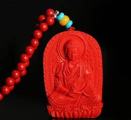 Discount men gold pendants china - Red cinnabar Eight guardian god pendant men and women life Buddha gift couple models jade pendant