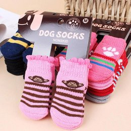 pet socks dogs Australia - 2019 Pet Dog Socks winter warm Cute Puppy Dogs Soft Cotton Anti-slip Knit Weave Sock Skid Bottom Sock Dog Apparel