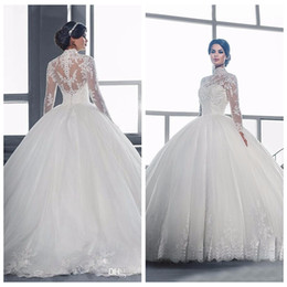 $enCountryForm.capitalKeyWord Australia - 2019 Modest High Collar Lace Long sleeve Wedding Dresses Ball Gown Muslim Bridal Gowns Robe De Mariage