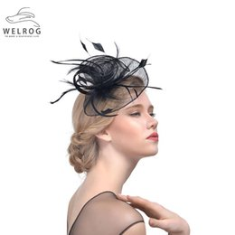 c2323d30 WELROG Fascinators Hat For Women Flower Mesh Hair Flower Feathers Fedoras  Hat Headband Hair Clip Cocktail Party Headwewar