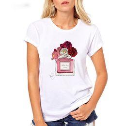 2019 Nova moda T-shirt das mulheres Europeias e Americanas tendência quente estilo perfume garrafa feminina manga curta blusa venda por atacado