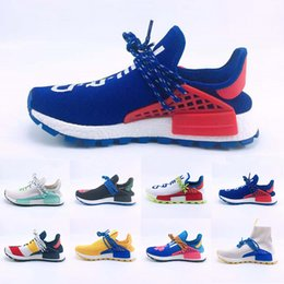 cheaper running shoes NZ - Cheaper New Human Race Running Shoes Yellow Blue PW HU Holi MC pharrell williams trail trainers Men Women runner Designer Sports sneakers