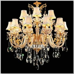 Discount chandelier crystal lampshades European Golden Crystal Chandelier Light Glass Arms Cristal Lustres Pendant Light for living room Hanging Lamp with Fabr