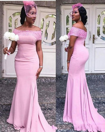 $enCountryForm.capitalKeyWord Australia - 2019 Cheap Pink Country Bridesmaid Dresses For Weddings Bateau Off Shoulder Short Cap Sleeves Lace Appliques Sweep Train Maid Of Honor Gowns