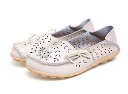 Genuine Leather Women Flats Shoe Fashion Casual Lace-up Soft Loafers Spring Autumn ladies shoes on Sale