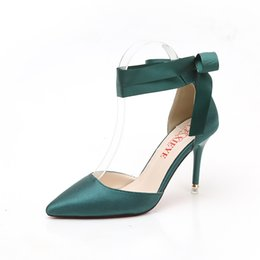 Green Women Shoes Ribbon Lace Australia - Dress Brand Satin Women Pumps Ribbon Strap Thin Ultra High Heels Stiletto Shoes Pointed Toe Paty Wedding Shoes Pink Green Red Bottom