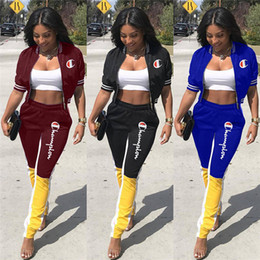 Discount women summer jackets clothing - Champions Women Jacket+Leggings Two Piece Set Outfits Cardigan+Tights Jogger Suit Sweatsuit S-3XL Summer Fall Clothing T