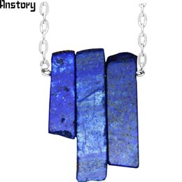 China endant Necklaces Irregular Rectangle Lapis Lazuli Amethysts Necklace Vintage Handmade Natural Stone Necklace For Women Stainless Steel Je... cheap vintage amethyst stone necklace suppliers