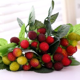 $enCountryForm.capitalKeyWord Australia - Artificial Strawberry With Leaves Fleur Artificielles Plastic Red Bay Berry Diy Wedding Christmas Tree Decoration Fake Flowers