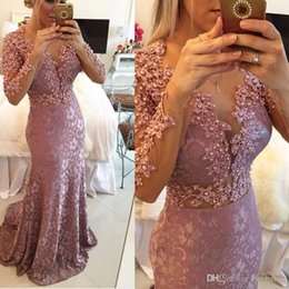 $enCountryForm.capitalKeyWord Australia - Stunning Pink Mermaid Prom Gowns Crystal Custom Made Long Lace Formal Evening Dresses 2019 With Long Sleeves Plus Size