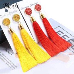 Fringe Gifts Australia - BICUX Bohemian Long Tassel Drop Earrings For Women Lady Fringe Fashion Statement Ethnic Crystal Woman Earring 2018 Jewelry Gift