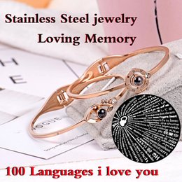 Chinese  4 style Women 100 Languages I Love You Memory Chain Stainless Steel Rose Gold Roman Numerals Tears Crystal Fashion Charm Bracelet manufacturers