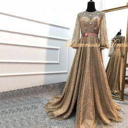 Black Dress Sash Sides Australia - Gold Muslim Long Sleeve Beaded Formal Prom Dresses 3d Floral Pearle Evening Dresses Side Split pageant Graduation Dresses robes de soirée