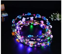 $enCountryForm.capitalKeyWord Australia - Flashing LED strings Glow Flower Crown Headbands Light Party Rave Floral Hair Garland Luminous Wreath Wedding Flower Girl kids toys