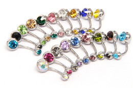 New 316L Surgical Steel navel rings Crystal Rhinestone Belly Button Navel Bar Ring Body Jewelry Piercing WCW640 on Sale