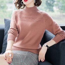 $enCountryForm.capitalKeyWord NZ - Half Turtleneck Cashmere Cotton Blend Women Sweater 2019 Autumn Winter Clothes Basic Warm Jumper Lady Pull Femme Knitted Sweater