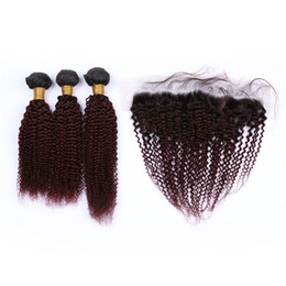 China Wine Red Ombre Malaysian Human Hair Kinky Curly Bundles with 13x4 Frontal Closure #1B 99J Burgundy Ombre Full Lace Frontal with Weaves supplier red curly human hair suppliers