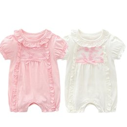 Pink Body Suits Australia - Princess Newborn Baby Girl Clothes Lace Flowers Jumpsuits Girls Rompers for 2019 Summer Baby Body suits Toddler Kids clothing children set