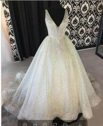 sparkle pageant dresses NZ - White Sparkle Sequin Evening Dresses Deep V Neck Sexy Low Back Long Prom Dress Cheap Pageant Gowns Special Occasion Wear