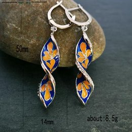 r flowers Canada - 10 Pair Europe and America Creative spiral leaf Enamel Cloisonne Flowers Long Earring Fashion personality women accessories R-43
