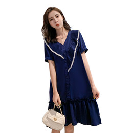peter pan collar maternity dress NZ - 2019 Maternity Loose Dress Plus Size Pleated Peter Pan Collar Single-breasted Pregnant Women Trumpet Dress Sweet Pregnancy Dress