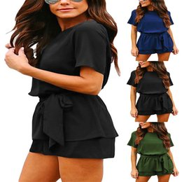 nice jumpsuits Australia - Nice Pop Womens Summer Round Neck Solid Color Loose Short Sleeve Belted Wrap Short Jumpsuit Rompers Cgu 88