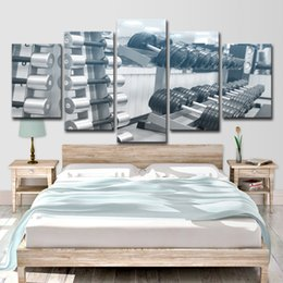 $enCountryForm.capitalKeyWord Australia - 5 Piece Canvas Art Gym Equipment Dumbbell Poster HD Printed Home Decor Canvas Painting Picture Prints Free Shipping