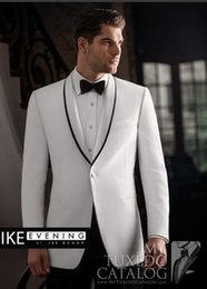 $enCountryForm.capitalKeyWord Australia - Fashionable White Groom Tuxedos,Handsome Slim Fit Men Wedding Groomsmen Business Party Prom Suits (Jacket+Pants+Tie) W:843
