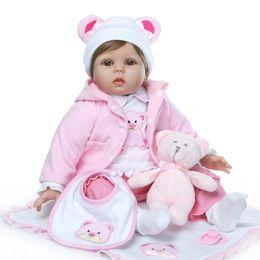 $enCountryForm.capitalKeyWord NZ - wholesale 20-22inch 50-55cm Bebe Reborn Doll Soft Silicone Boy Girl Toy Reborn Baby Doll Gift for Child Pink Bear Pink Coat