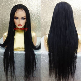 Auburn medium length wigs online shopping - Hot Cheap Black mirco Braided Wigs High Quality Braiding hair Heat Resistant Braided Glueless Synthetic Lace Front Wigs for Black Women