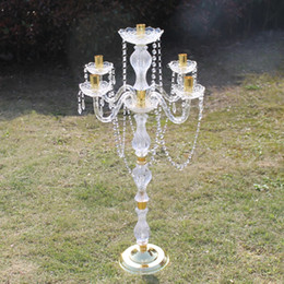 $enCountryForm.capitalKeyWord NZ - 90 cm Height Acrylic 5-arms Metal Candelabras With Crystal Pendants Wedding Candle Holder Centerpiece Party Decor