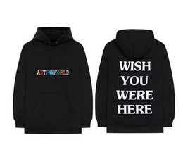 Male hoodie black online shopping - Travis Scott Astroworld Designer Hoodies Casual Embroidered Hip Hop Hooded Sweatshirts Male White Text Printed High Street Pullover